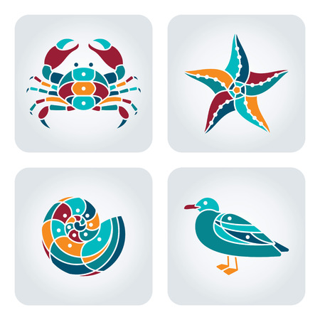 Set van 4 vector mozaïek zee iconen.