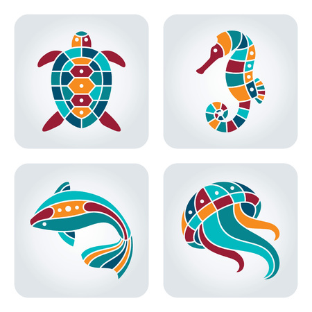 underwater fishes: Set of 4 vector mosaic seaside icons. Illustration