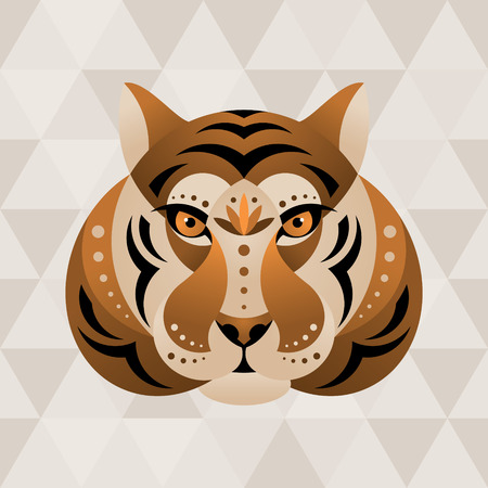 Tiger. Chinese horoscope sign. Vector illustration in ethnic style. Illustration