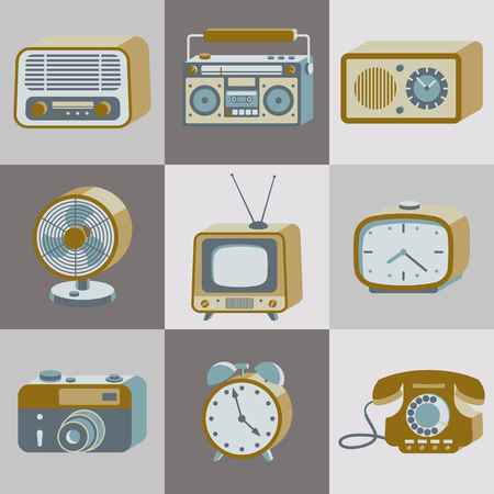 Set van retro elektronische apparaten. 20e eeuwse gadgets. Vector illustratie. Stock Illustratie