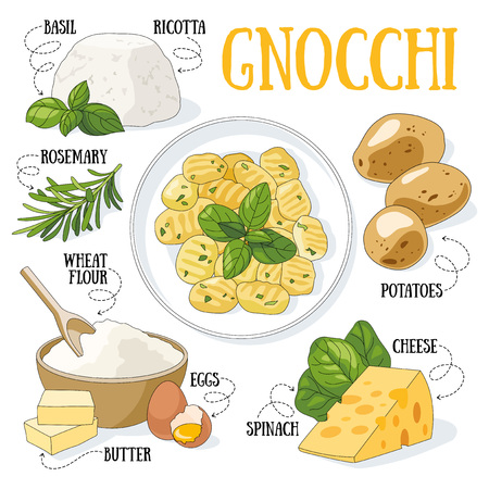 Gnocchi and its ingredients. Italian traditional cuisine.