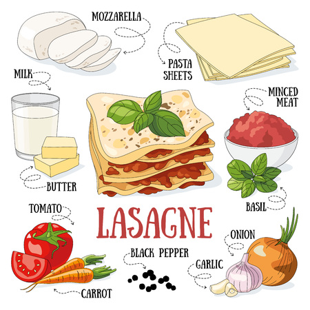 Lasagne and its ingredients. Italian traditional cuisine.