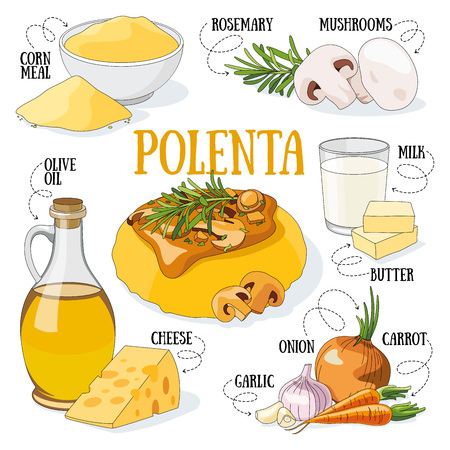 Polenta and its ingredients. Italian traditional cuisine. Stock Illustratie