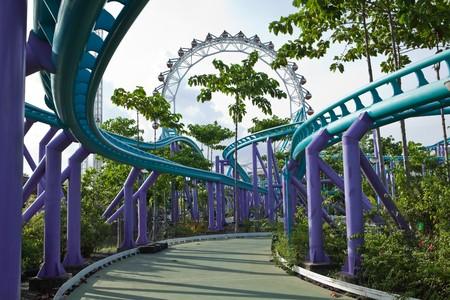 Roller coaster & Ferris wheel photo