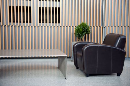 Luxury waiting room with plant against wooden wall photo