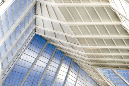 Business building blue roof in glass and white colors photo