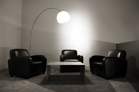 Waiting room with elegant modern black and white design