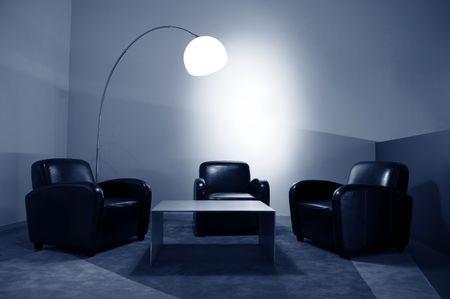 Waiting room with elegant modern black and white design Stock Photo - 5895915
