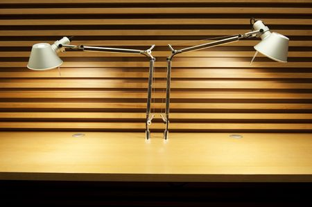 forniture: Two reading lamps in empty desktop