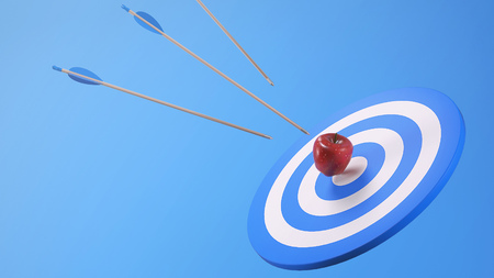 Three Arrows Target Apple on Bullseye Target Stock Photo - 95972986