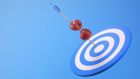 Two Apples Pierces on an Arrow on Target Stock Photo