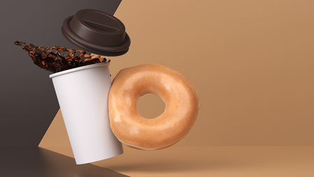 Glazed donut tips over hot coffee in this 3d studio environment. Stock Photo