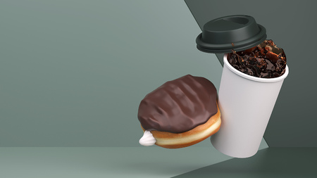 Boston Cream donut tips over hot coffee in this 3d studio environment.