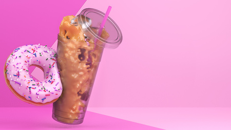 Strawberry donut tips over iced coffee in this 3d studio environment. Stock Photo