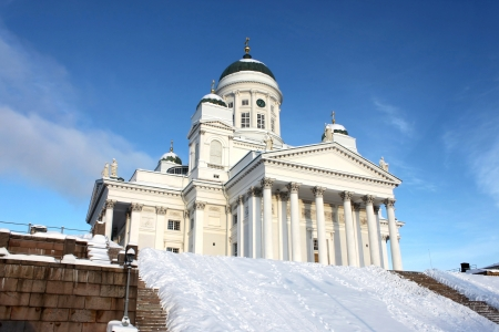 Holy and white tuomiokirkko in Helsinki photo