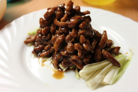 Sauteed Shredded Pork in Sweet bean sauce Stock Photo - 14261072