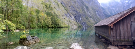 log cabin and water in Obersee,koenigssee, Berchtesgaden photo