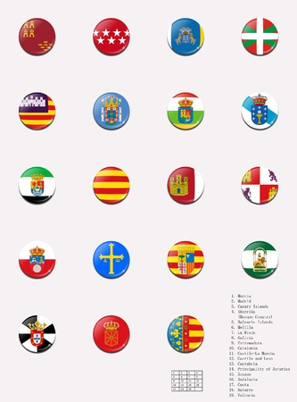 castile leon: Flags balls stamps of the autonomous communities of Spain