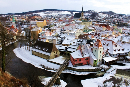 town of Cesky Krumlov in winter time