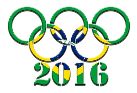 olympic symbol: 2016 Brazil Olympics games_white background Editorial