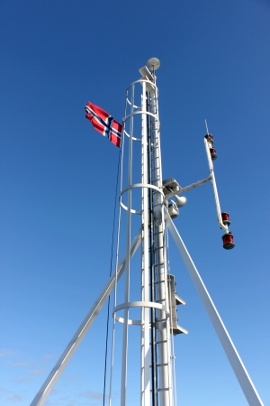 spire: A spire with Norwegian flag Stock Photo