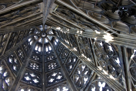 horrific: inside view on top of cologne church Stock Photo