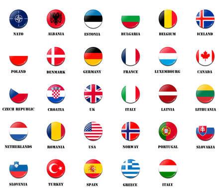 verdrag: nationale vlaggen van de NAVO Noord-Atlantische Verdragsorganisatie leden
