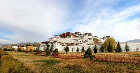 potala: panorama of Potala Palace in Tibet, China