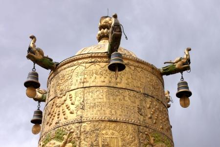 prayer wheel in Tibet, China photo