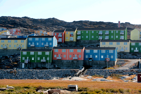 Colorful house in Ilulissat, Greenland Stock Photo