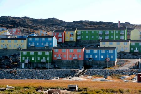 Kleurrijk huis in Ilulissat, Groenland Stockfoto