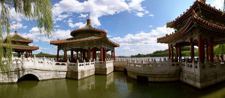 Pavilion in Beihai Park in Beijing Stock Photo
