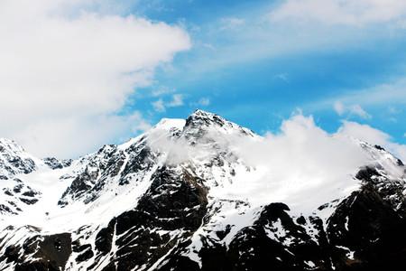 winter snow capped mountain scenery Stock Photo