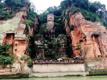 The Leshan Giant Buddha stone carve in Sichuan province in China Stock Photo - 84135398