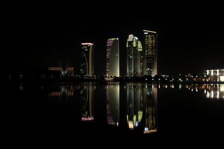 lake district: Putrajaya Iconic Tower during a serene evening in Malaysia. Stock Photo