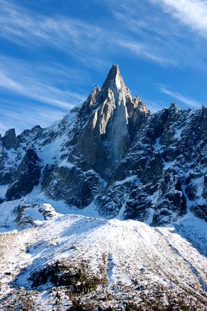 Landscape view of Aiguille du Dru in the Montblanc massif, French Alps. Stock Photo