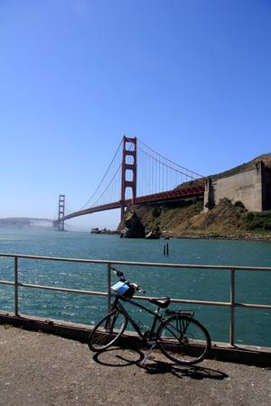 Bike parked bisides Golden gate bridge in SF Stock Photo