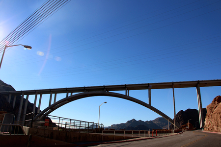 hoover dam: The Hoover Bridge from the Hoover Dam, Nevada. Stock Photo