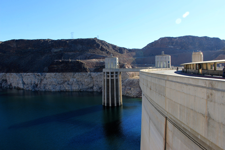 hoover dam: Hoover Dam and Colorado river near Las Vegas, Nevada.