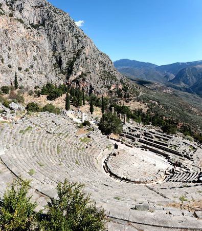 Panoramic view of Ancient theater in Delphi, Greece in a summer day.