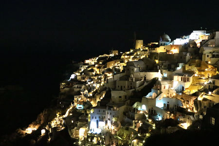 the night View of Oia, Santorini at night.