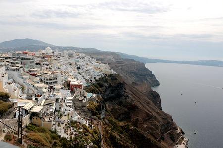 Panoramic view of the town of Fira, Santorini Greece.