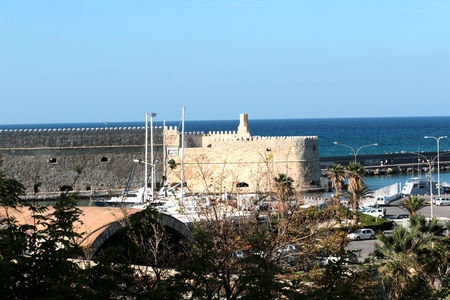 View of Heraklion harbour from the old venetian fort Koule, Crete, Greece.
