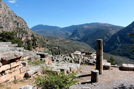 The ruins of Temple of Apollo in the archaeological site of Delphi in Greece. Delphi was believed to be the centre of the earth.