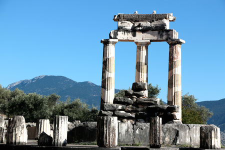 view of Temple of Athena Pronea Delphi Greece.