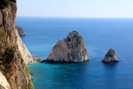The views of the Big and Small Mizitra island of Zakynthos, Greece. Banco de Imagens