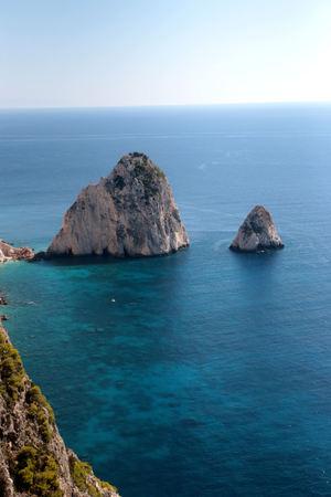 As melhores vistas da grande e pequena ilha de Mizitra de Zakynthos, na Grécia.