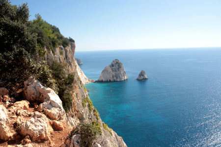 The best views of the Big and Small Mizitra island of Zakynthos, Greece.