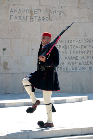 2017 October 17 - Evzones presidential guards at the Greek Parliament Building in front of Syntagma Square in Athens, Greece.