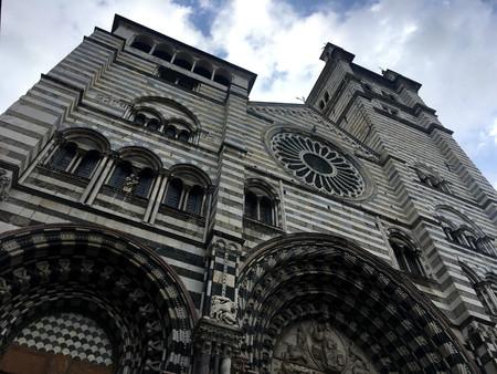 Bottom view of Genoa Cathedral Duomo di Genova or Cattedrale di San Lorenzo seat of the Archbishop of Genoa.